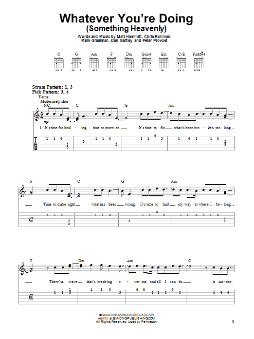 Whatever You're Doing (Something Heavenly) (Easy Guitar Tab)