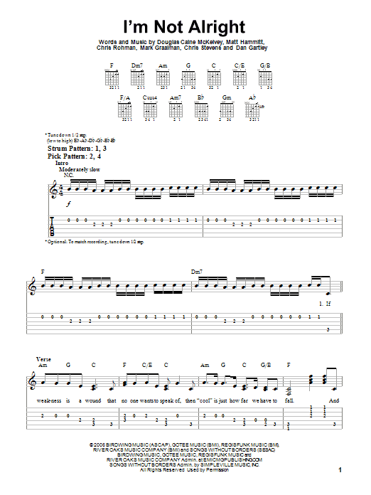 I'm Not Alright (Easy Guitar Tab)