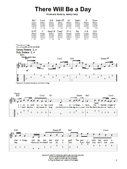 There Will Be A Day (Easy Guitar Tab)