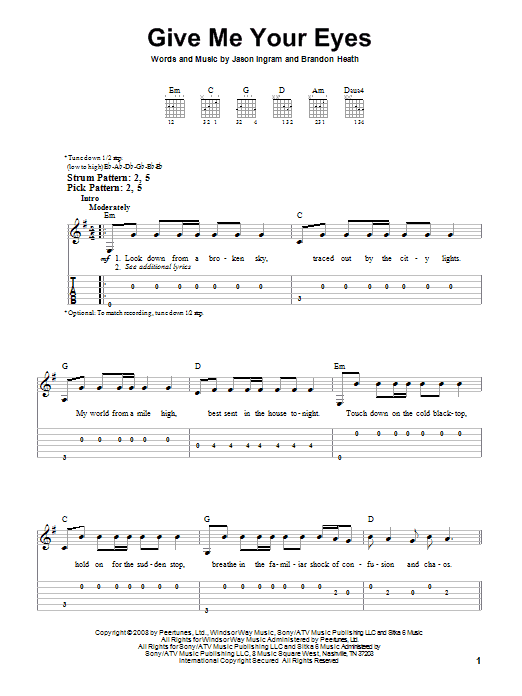 Tablature guitare Give Me Your Eyes de Brandon Heath - Tablature guitare facile
