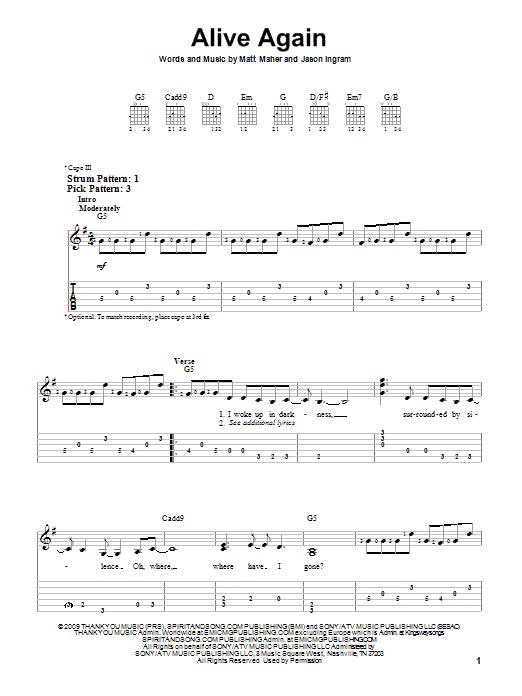 Tablature guitare Alive Again de Matt Maher - Tablature guitare facile