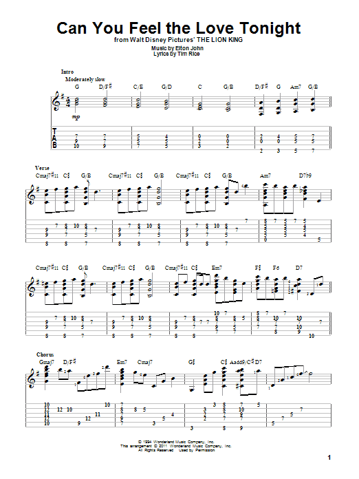Tablature guitare Can You Feel The Love Tonight de Elton John - Tablature Guitare