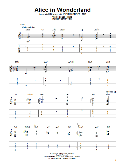 Alice In Wonderland (Solo Guitar Tab)