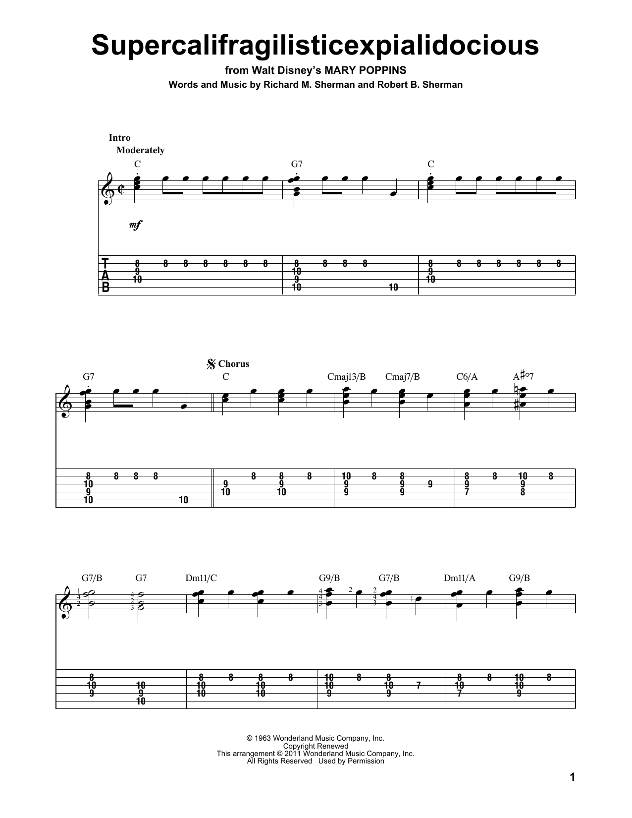Tablature guitare Supercalifragilisticexpialidocious de Sherman Brothers - Tablature Guitare