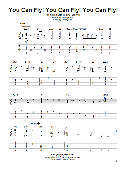 Tablature guitare You Can Fly! You Can Fly! You Can Fly! de Sammy Cahn - Tablature Guitare
