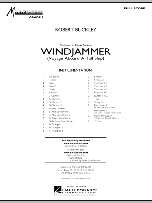 Windjammer (Voyage Aboard A Tall Ship) (COMPLETE) sheet music for concert band by Robert Buckley. Score Image Preview.
