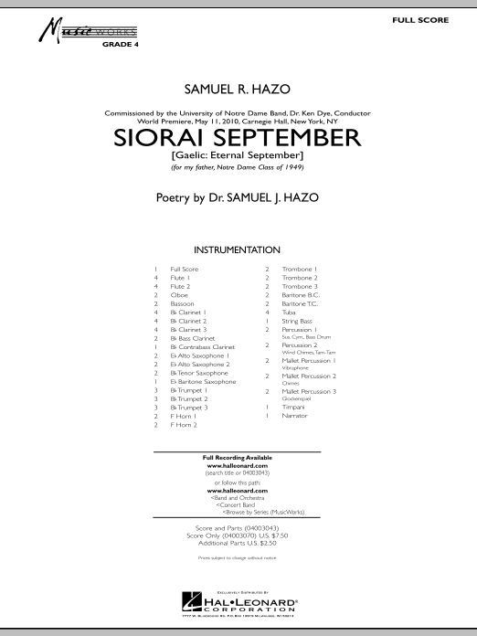 Siorai September (COMPLETE) sheet music for concert band by Samuel R. Hazo. Score Image Preview.