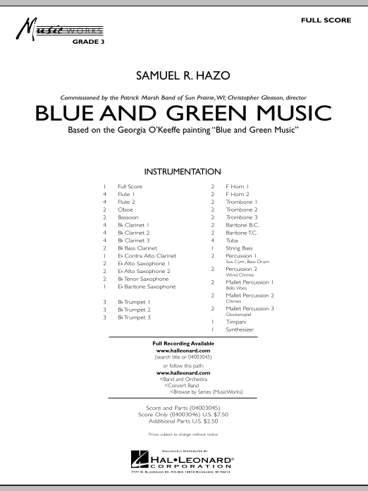 Blue And Green Music (COMPLETE) sheet music for concert band by Samuel R. Hazo. Score Image Preview.