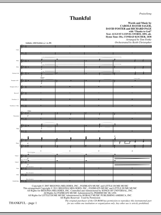 Thankful (complete set of parts) sheet music for orchestra/band (Orchestra) by Tom Fettke, Carole Bayer Sager, David Foster, Josh Groban and Richard Page. Score Image Preview.