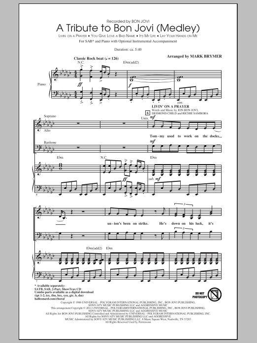 A Tribute To Bon Jovi (Medley) Sheet Music