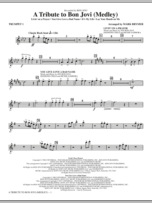 A Tribute To Bon Jovi (Medley) (complete set of parts) sheet music for orchestra/band (chamber ensemble) by Mark Brymer, Bon Jovi, Martin Sandberg and Richie Sambora. Score Image Preview.