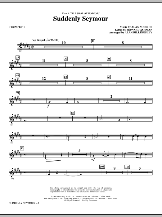 Suddenly Seymour (complete set of parts) sheet music for orchestra/band (chamber ensemble) by Alan Billingsley, Alan Menken and Howard Ashman. Score Image Preview.