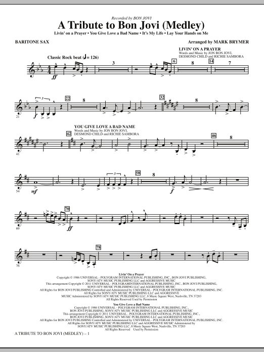 A Tribute To Bon Jovi (Medley) - Baritone Sax (Choir Instrumental Pak)