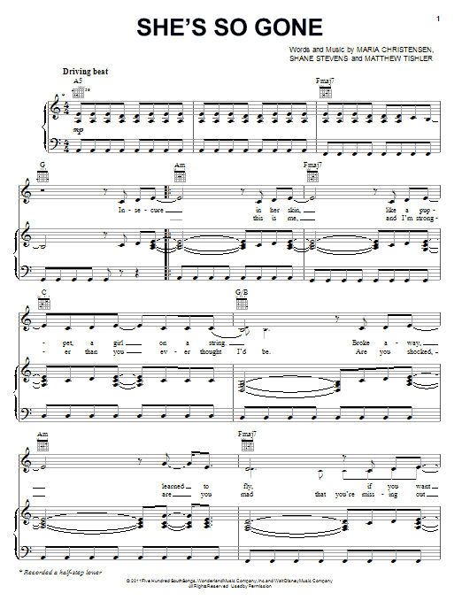 She's So Gone Sheet Music