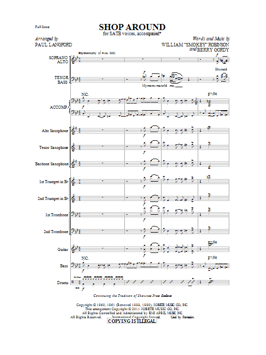Shop Around - Score Sheet Music