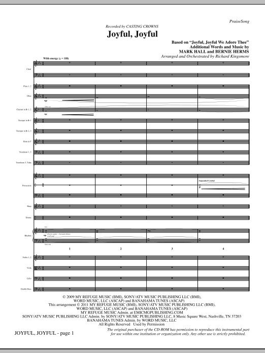 Joyful, Joyful - Full Score (Choir Instrumental Pak)