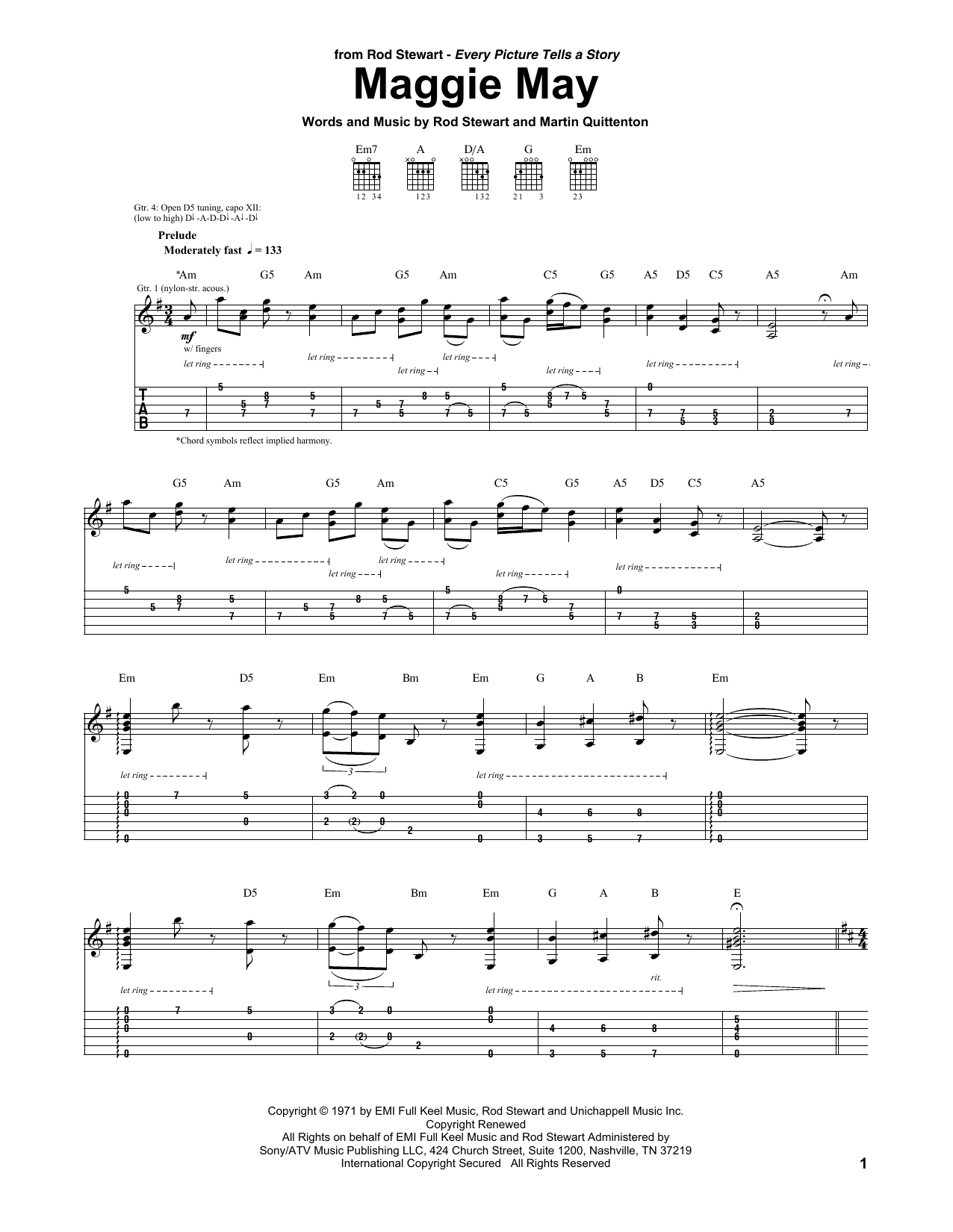 Tablature guitare Maggie May de Rod Stewart - Tablature Guitare