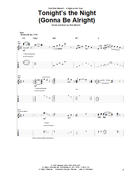 Tonight's The Night (Gonna Be Alright) (Guitar Tab)