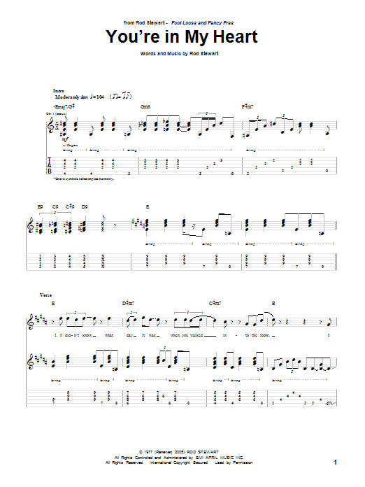 You're In My Heart (Guitar Tab)
