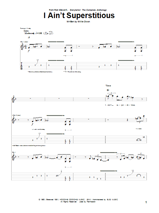 Tablature guitare I Ain't Superstitious de Rod Stewart - Tablature Guitare