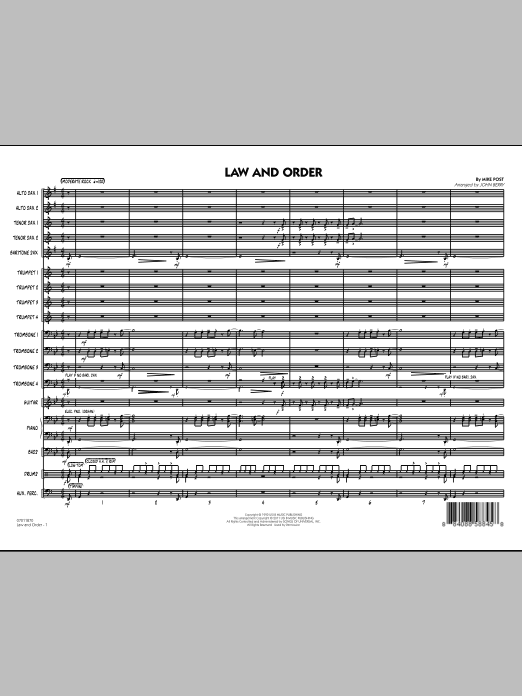 Law And Order (COMPLETE) sheet music for jazz band by John Berry and Mike Post. Score Image Preview.
