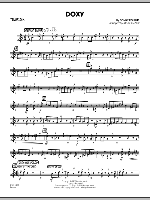 Doxy - Tenor Sax (Jazz Ensemble)