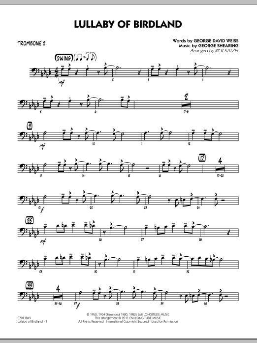 Lullaby Of Birdland - Trombone 2 (Jazz Ensemble)