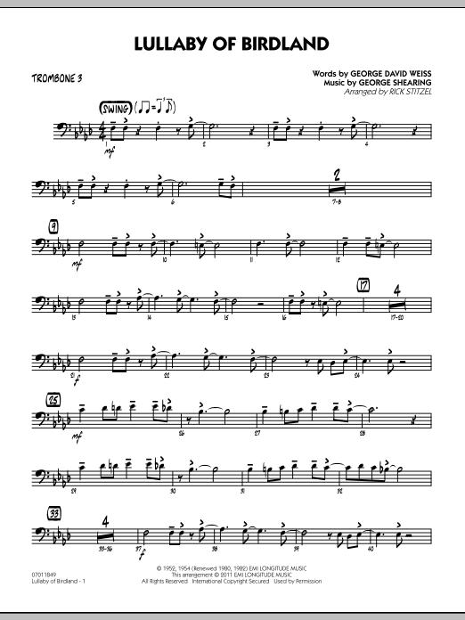 Lullaby Of Birdland - Trombone 3 (Jazz Ensemble)