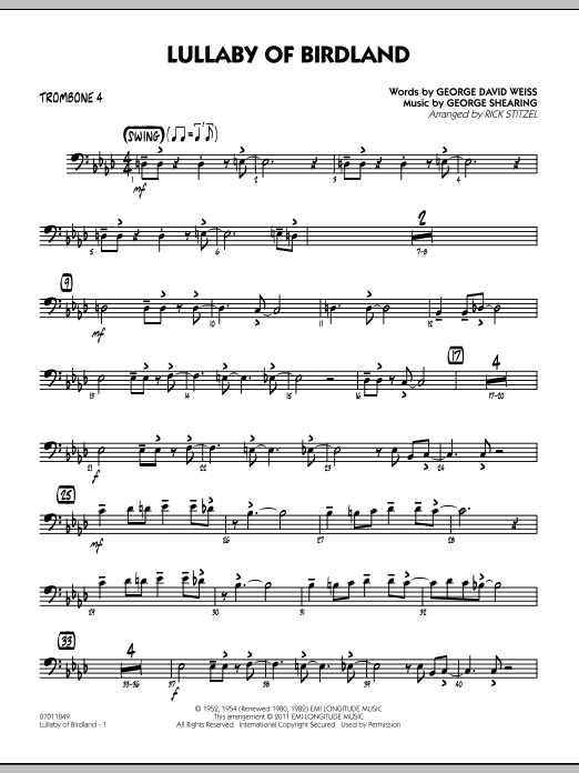 Lullaby Of Birdland - Trombone 4 (Jazz Ensemble)