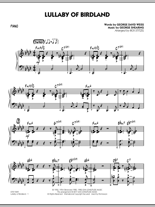 Lullaby Of Birdland - Piano (Jazz Ensemble)