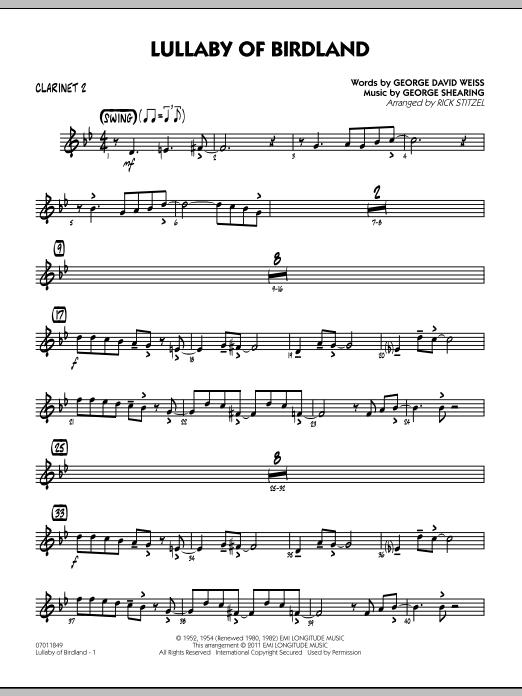 Lullaby Of Birdland - Bb Clarinet 2 (Jazz Ensemble)