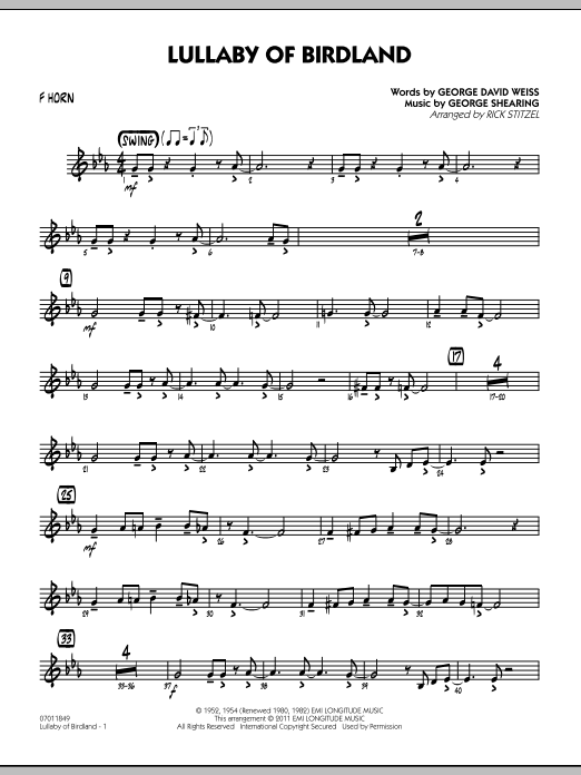 Lullaby Of Birdland - F Horn (Jazz Ensemble)