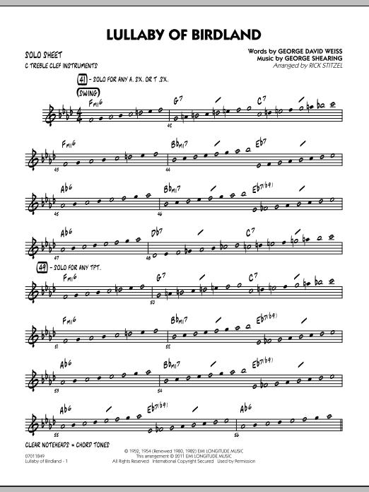 Lullaby Of Birdland - Solo Sheet (Jazz Ensemble)