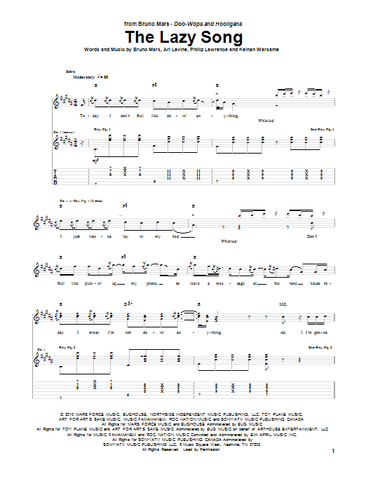 Ukulele ukulele chords lazy song easy : The Lazy Song Guitar Tab by Bruno Mars (Guitar Tab – 84212)