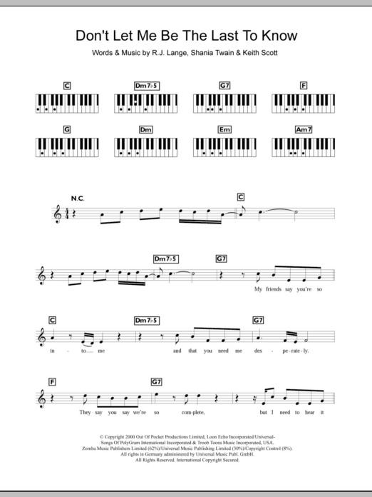 Don't Let Me Be The Last To Know Sheet Music