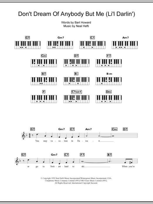 Don't Dream Of Anybody But Me (Li'l Darlin') (Piano Chords/Lyrics)