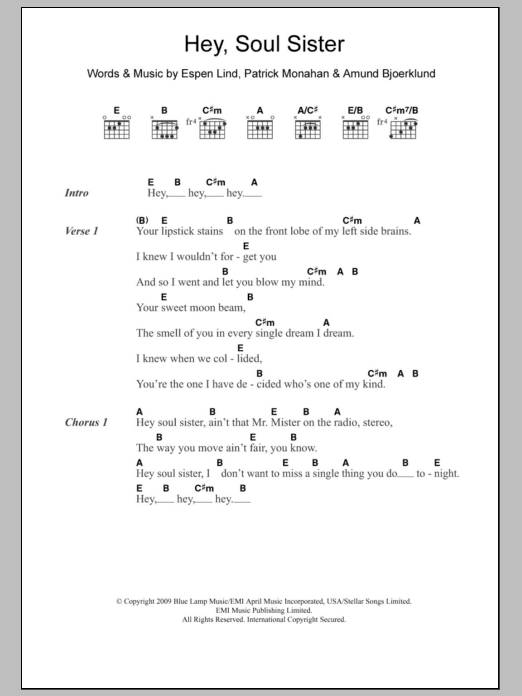 Hey Soul Sister Sheet Music Direct