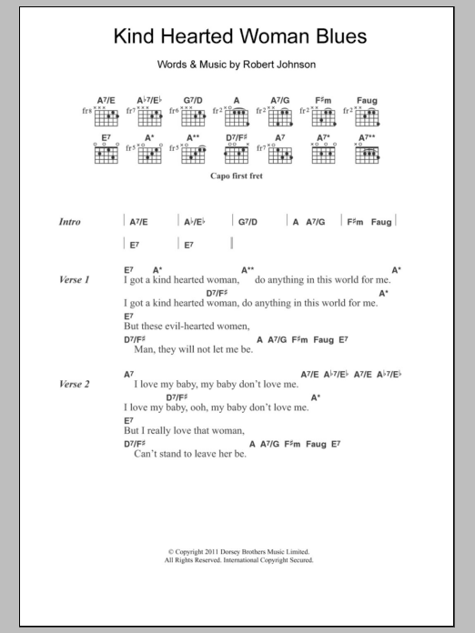 Kind Hearted Woman Blues Sheet Music Direct
