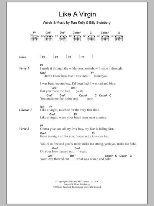 Like A Virgin By Madonna Guitar Chordslyrics Guitar Instructor