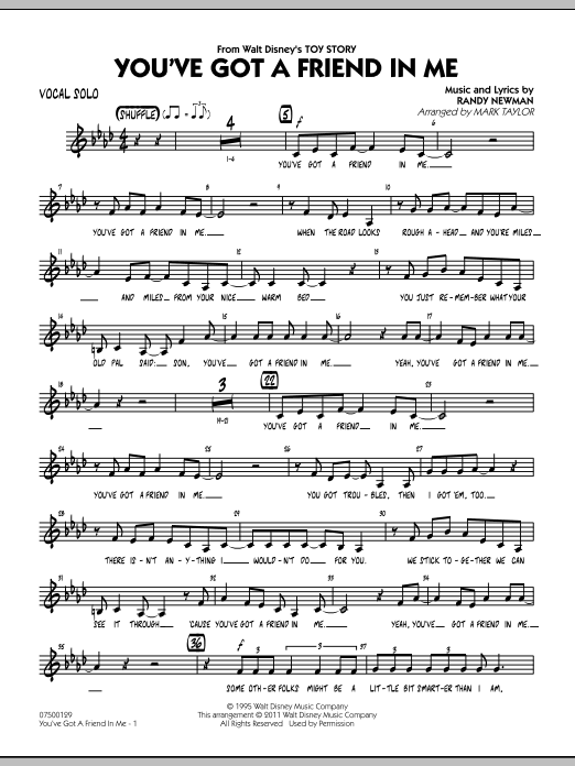 You've Got A Friend In Me (from Toy Story) (arr. Mark Taylor) - Vocal Solo (Jazz Ensemble)