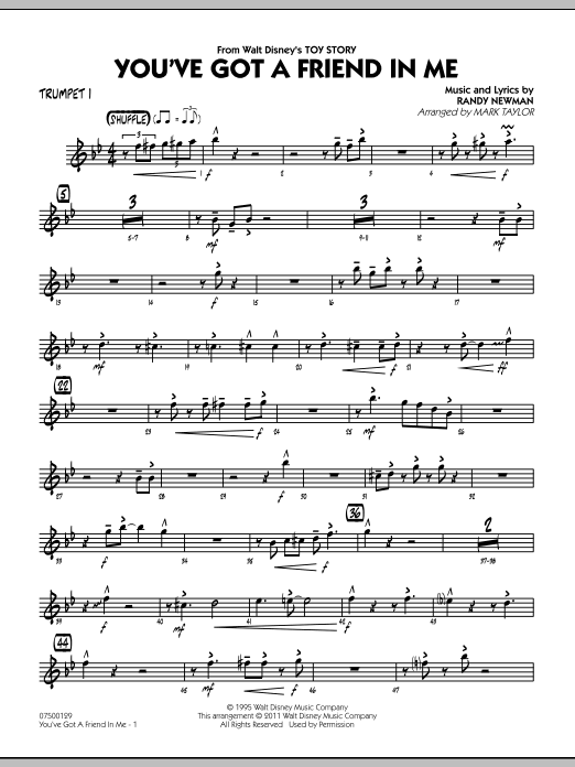You've Got A Friend In Me (from Toy Story) (arr. Mark Taylor) - Trumpet 1 (Jazz Ensemble)