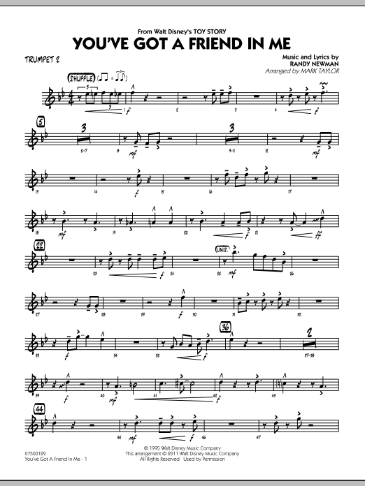 You've Got A Friend In Me (from Toy Story) (arr. Mark Taylor) - Trumpet 2 (Jazz Ensemble)