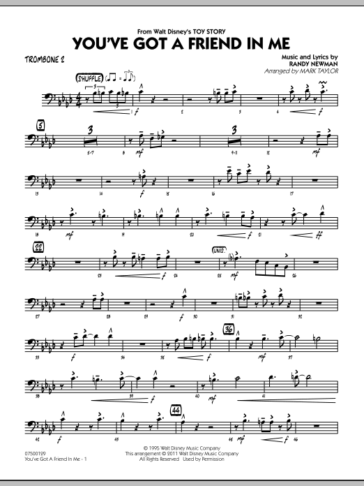 You've Got A Friend In Me (from Toy Story) (arr. Mark Taylor) - Trombone 2 (Jazz Ensemble)