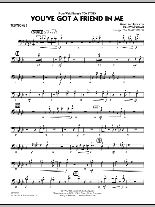 You've Got A Friend In Me (from Toy Story) (arr. Mark Taylor) - Trombone 3 (Jazz Ensemble)
