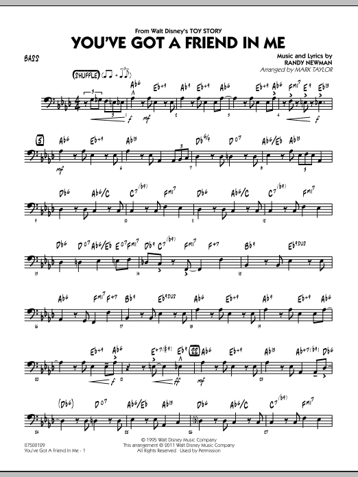 You've Got A Friend In Me (from Toy Story) (arr. Mark Taylor) - Bass (Jazz Ensemble)