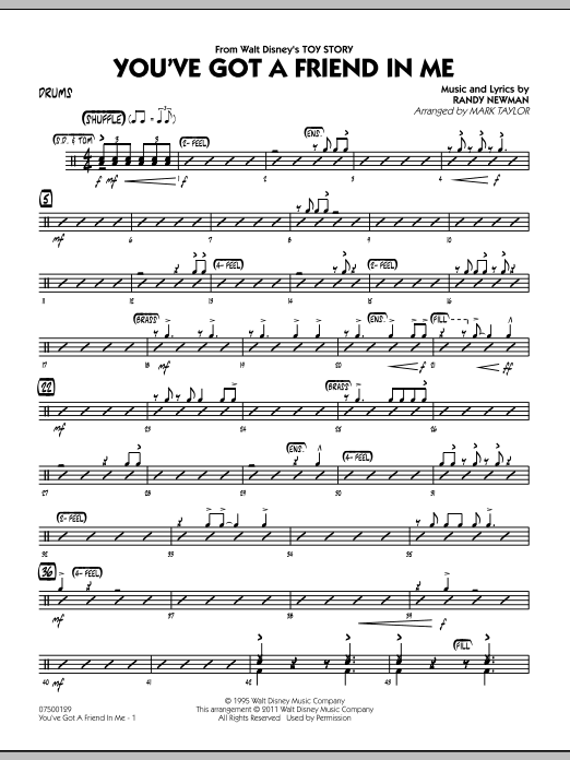 You've Got A Friend In Me (from Toy Story) (arr. Mark Taylor) - Drums (Jazz Ensemble)