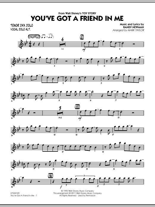 You've Got A Friend In Me (from Toy Story) (arr. Mark Taylor) - Tenor Sax Solo (Jazz Ensemble)