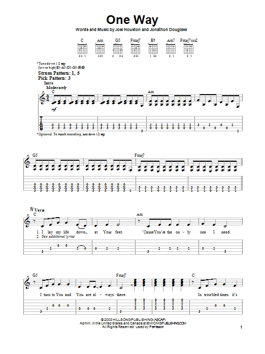 One Way (Easy Guitar Tab)