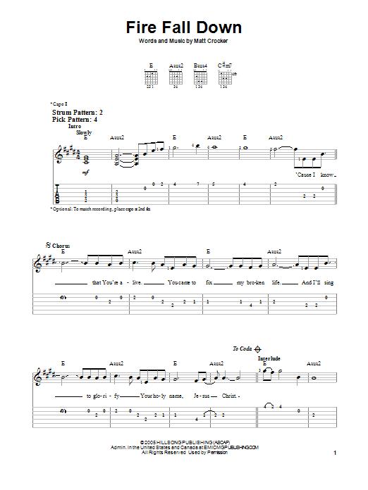 Fire Fall Down (Easy Guitar Tab)