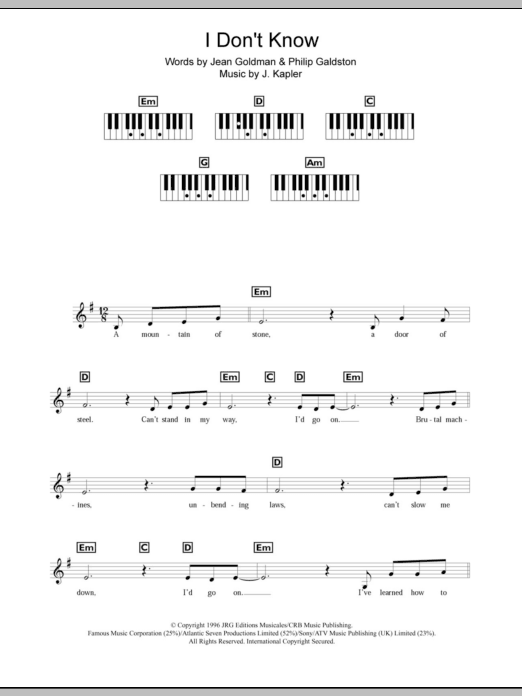 I Don't Know Sheet Music